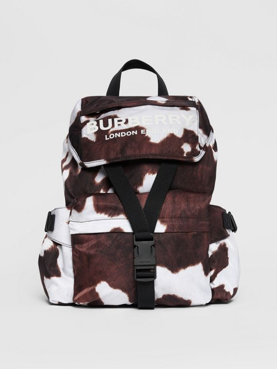 Cow Print Nylon Backpack in Mahogany