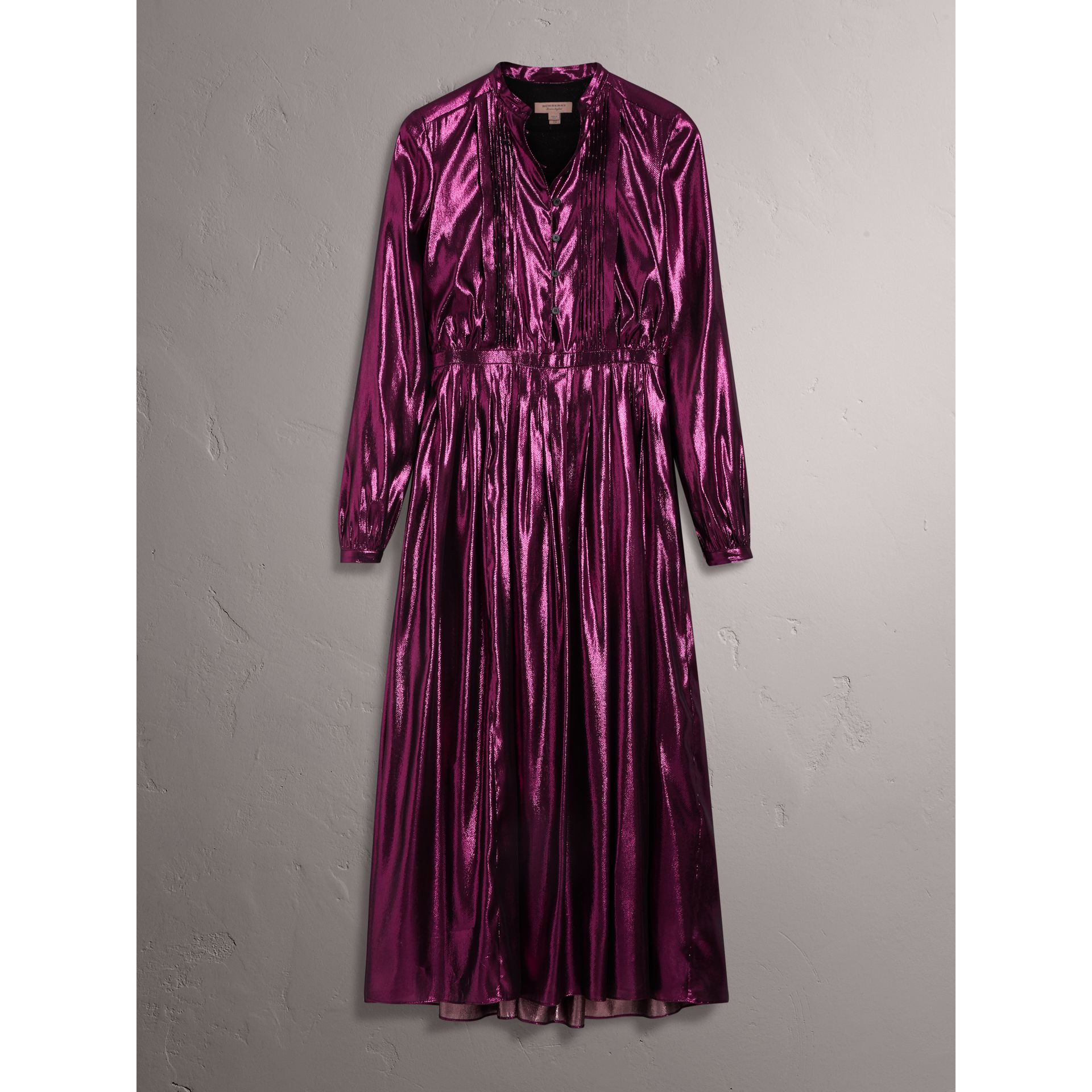 Long-sleeve Pintuck Lamé Dress in Bright Fuchsia - Women | Burberry United Kingdom - gallery image 3