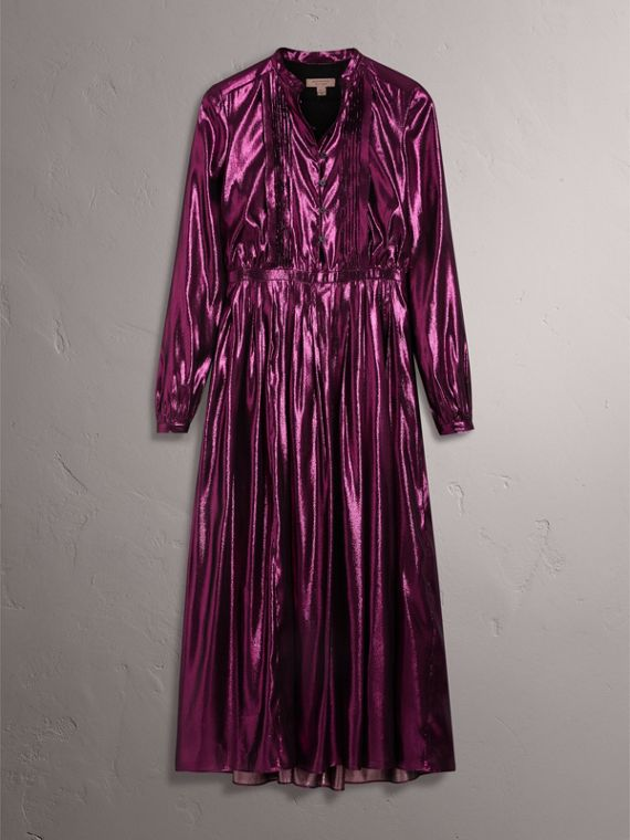 Long-sleeve Pintuck Lamé Dress in Bright Fuchsia - Women | Burberry - cell image 3
