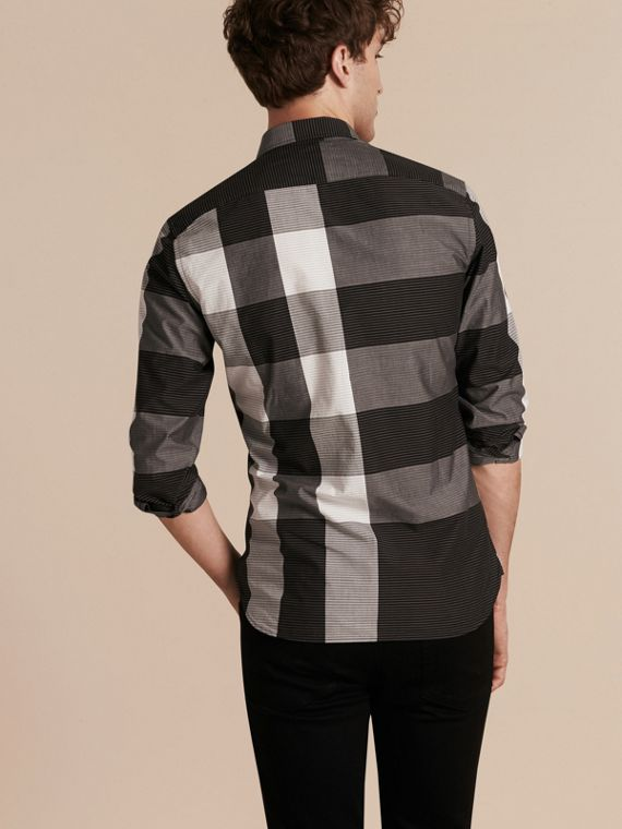 Schwarz Baumwollhemd mit grafischem Check-Muster Schwarz - cell image 2