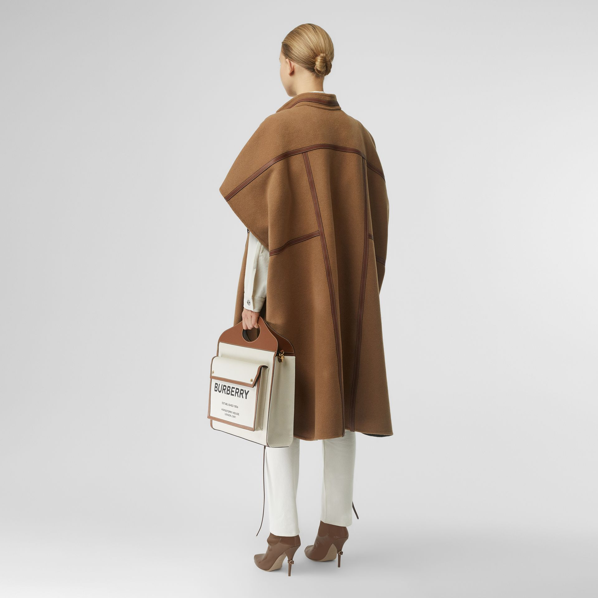 Leather Harness Detail Wool Blend Cape in Camel/honey - Women | Burberry - gallery image 0