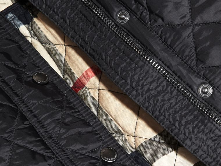 Diamond Quilted Trench Coat in Black - Girl | Burberry Australia - cell image 1
