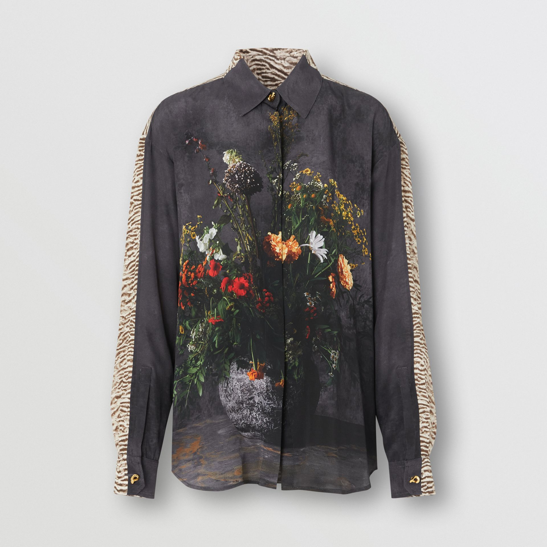 Floral and Tiger Print Silk Oversized Shirt in Black - Women | Burberry - gallery image 3
