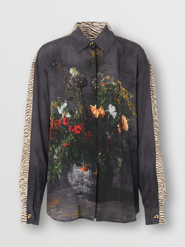 Floral and Tiger Print Silk Oversized Shirt in Black - Women | Burberry Australia - cell image 3