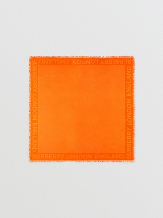 Pañuelo cuadrado grande en seda y lana con monogramas en jacquard (Naranja)