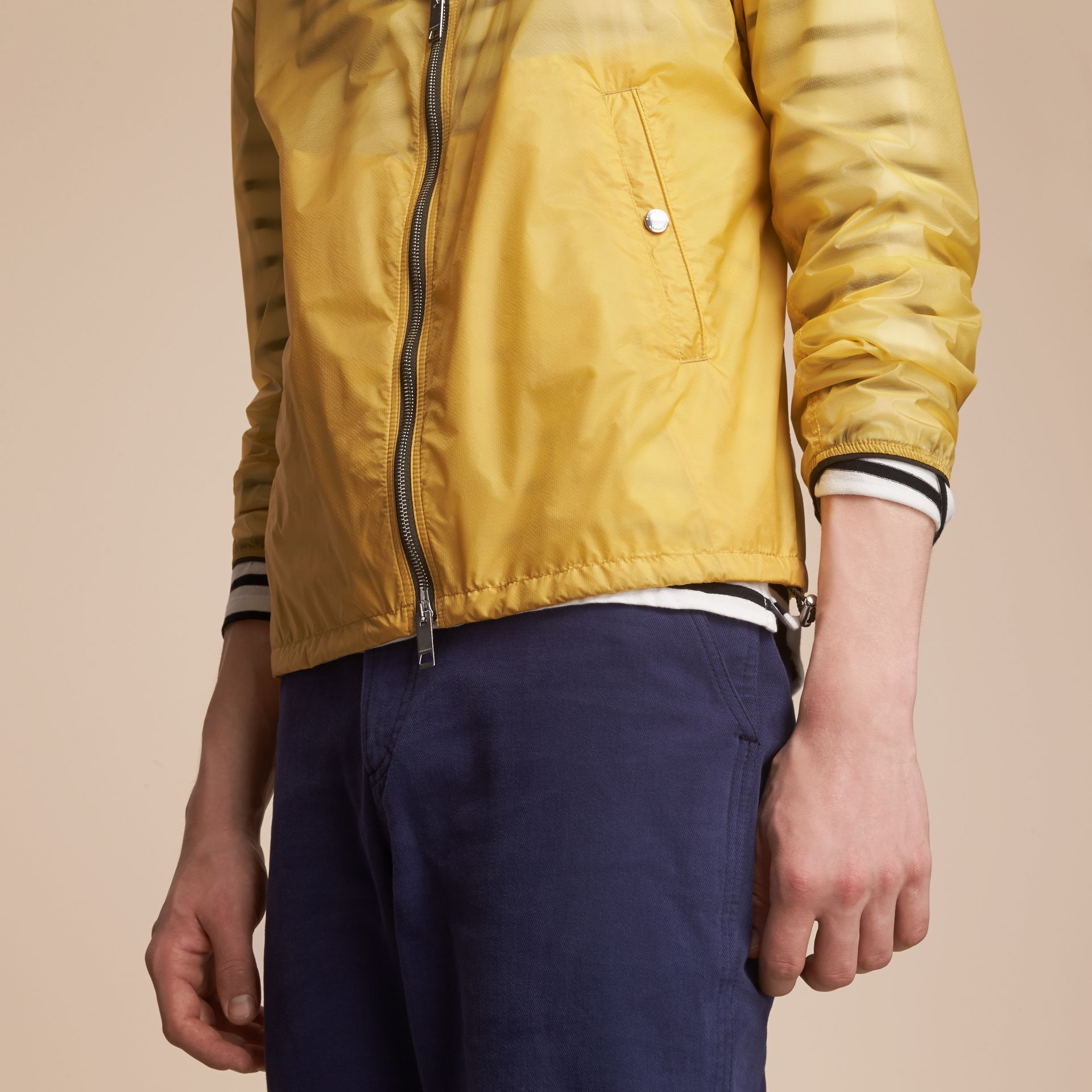 Hooded Super-lightweight Jacket in Pale Yellow - Men | Burberry - gallery image 5