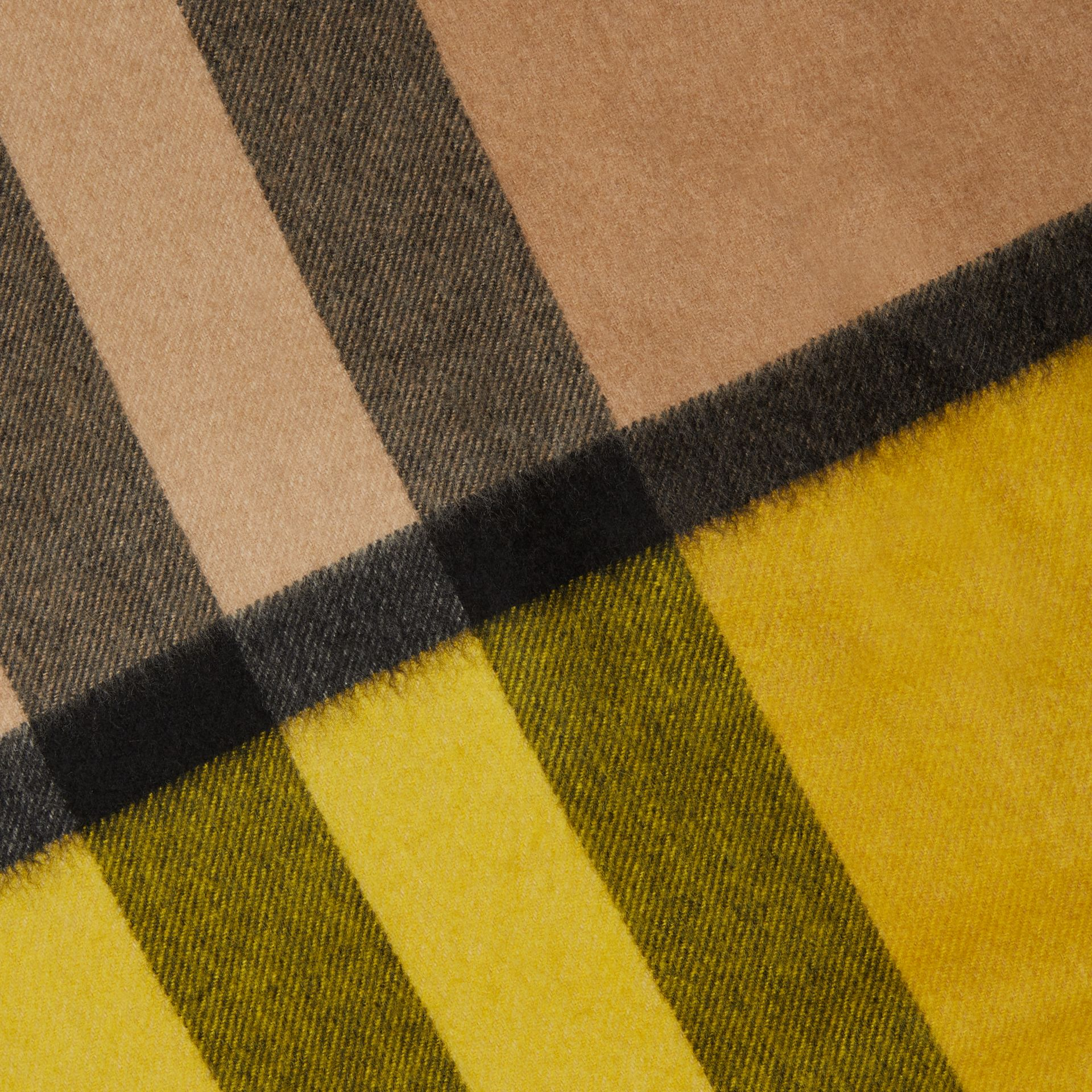 Colour Block Check Cashmere Scarf in Gorse Yellow | Burberry United Kingdom - gallery image 1