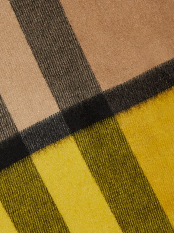 Colour Block Check Cashmere Scarf in Gorse Yellow | Burberry - cell image 1