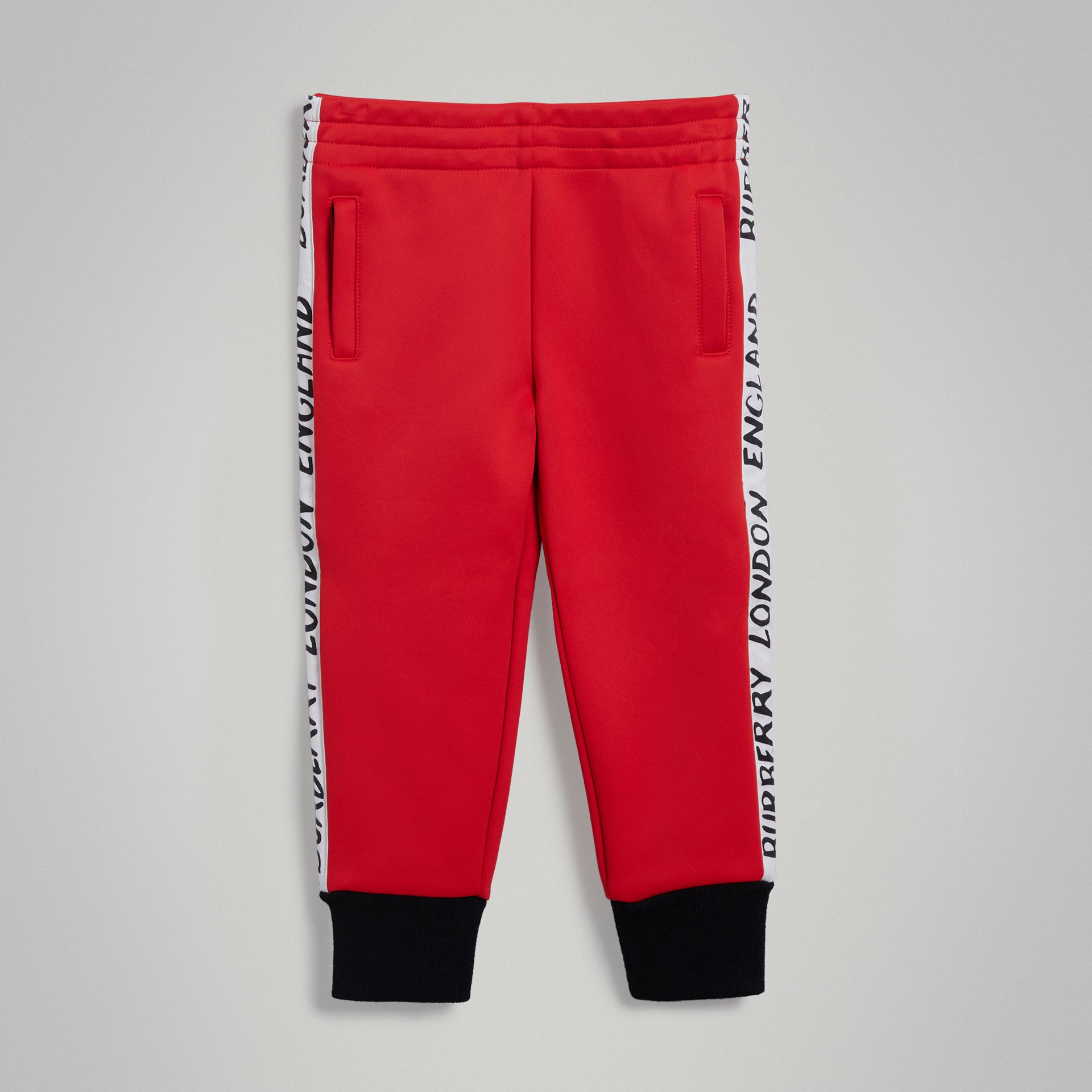 Stripe Detail Jersey Sweatpants in Bright Red - Boy | Burberry - gallery image 0