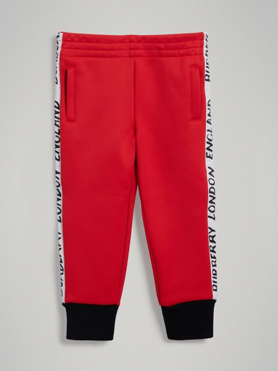 Stripe Detail Jersey Sweatpants in Bright Red
