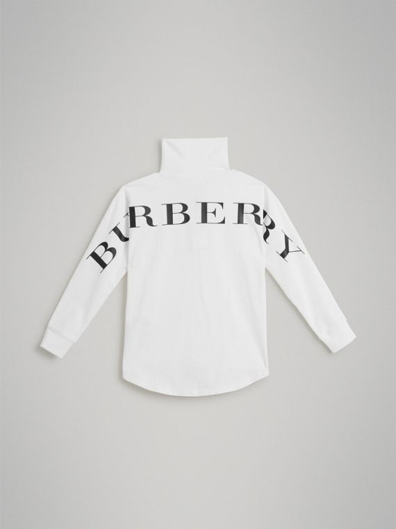 Logo Print Stretch Cotton Roll-neck Top in White - Boy | Burberry Hong Kong - cell image 3