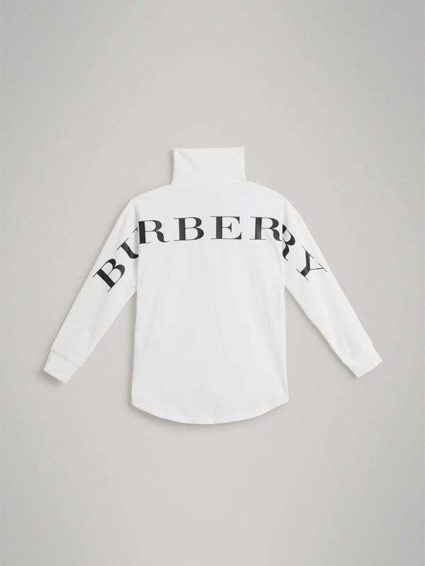 Logo Print Stretch Cotton Roll-neck Top in White | Burberry - cell image 3