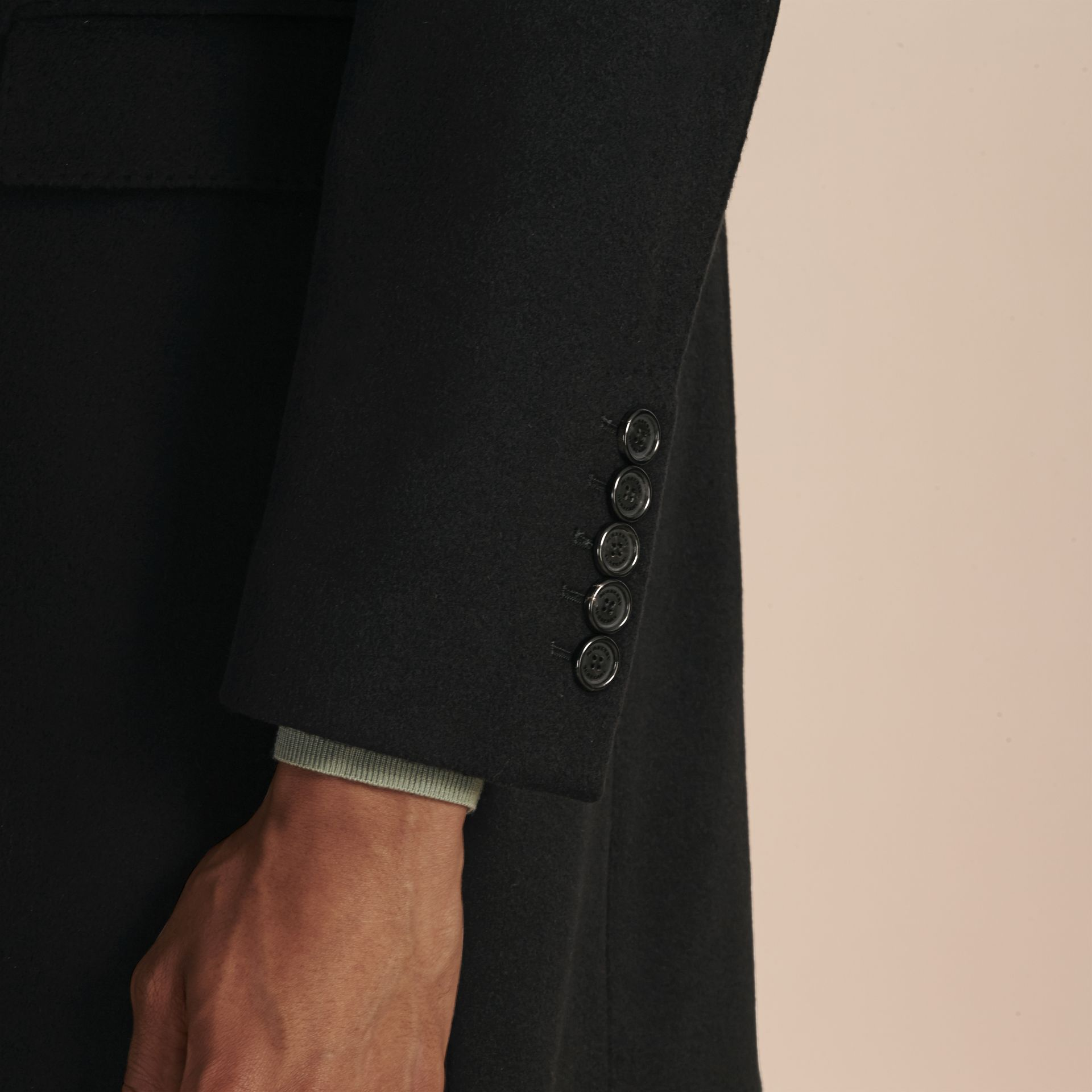 Black Double-breasted Wool Cashmere Tailored Coat - gallery image 5