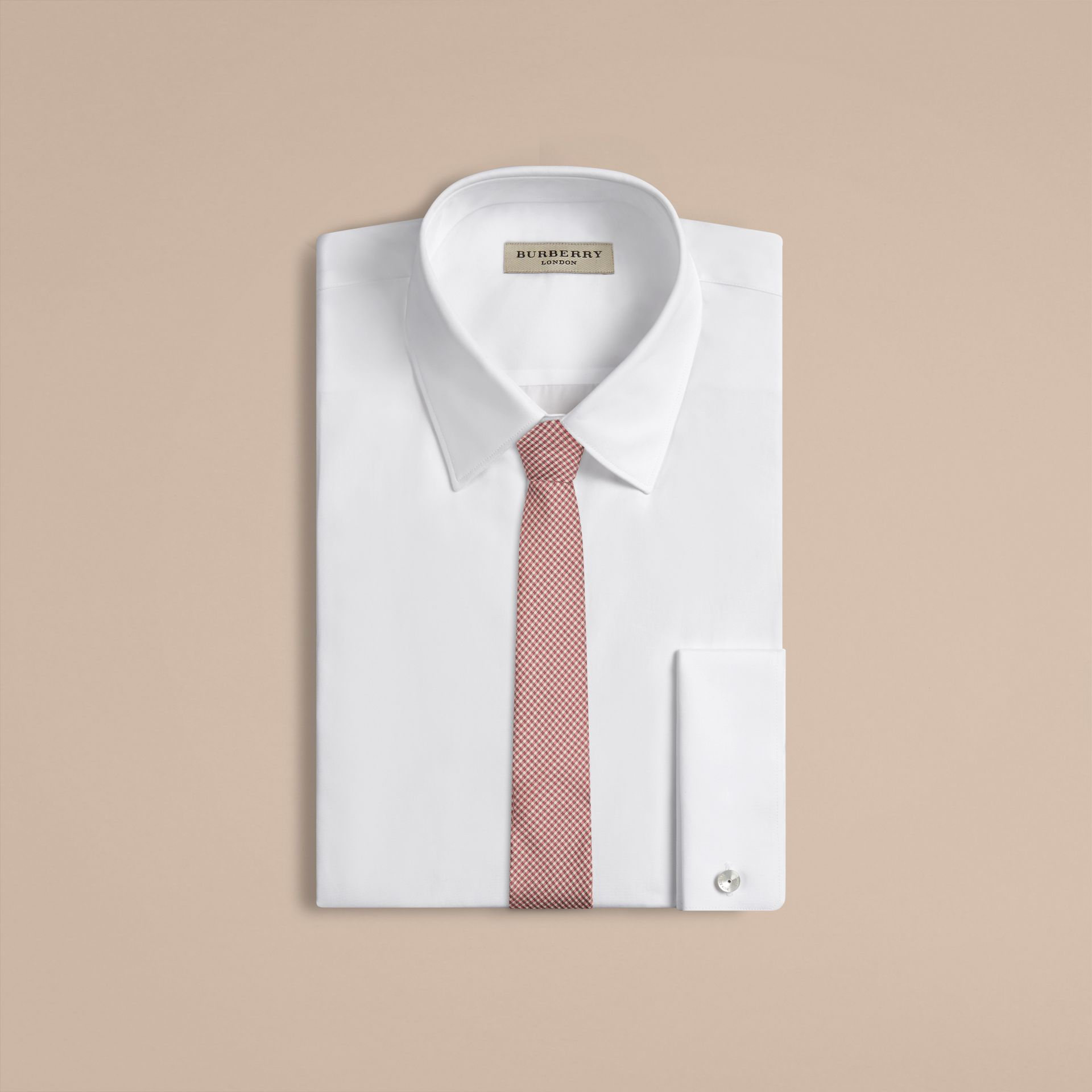 Chalk pink Slim Cut Check Silk Tie Chalk Pink - gallery image 2