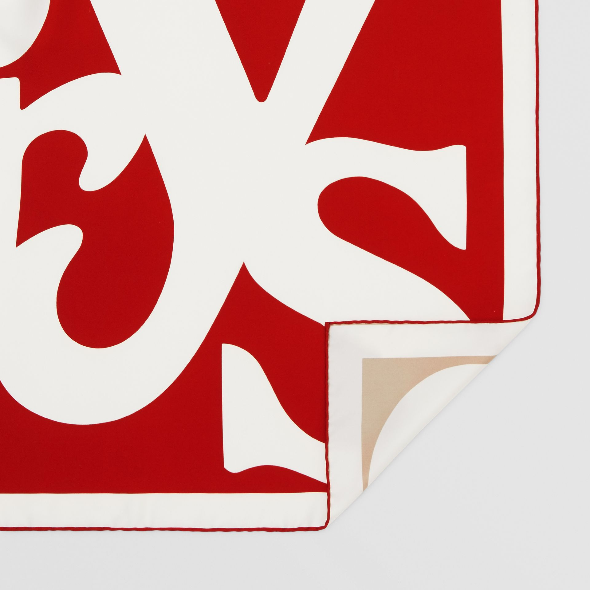 Archive Logo Print Silk Square Scarf in Burgundy/beige | Burberry United Kingdom - gallery image 4