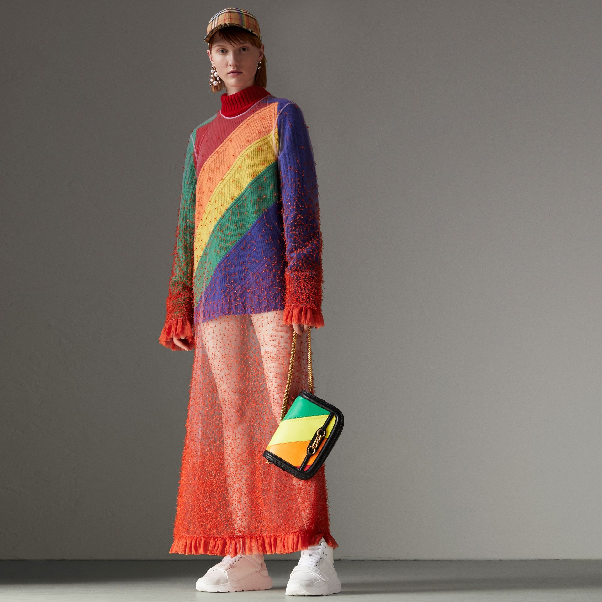 Rainbow Wool-cashmere Turtleneck Sweater in Multicolour - Women | Burberry Australia - gallery image 0