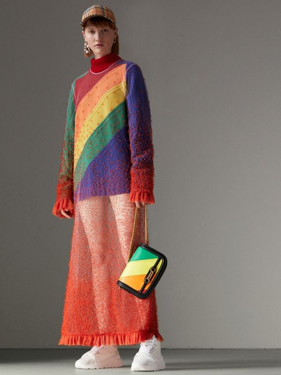 Rainbow Wool-cashmere Turtleneck Sweater in Multicolour