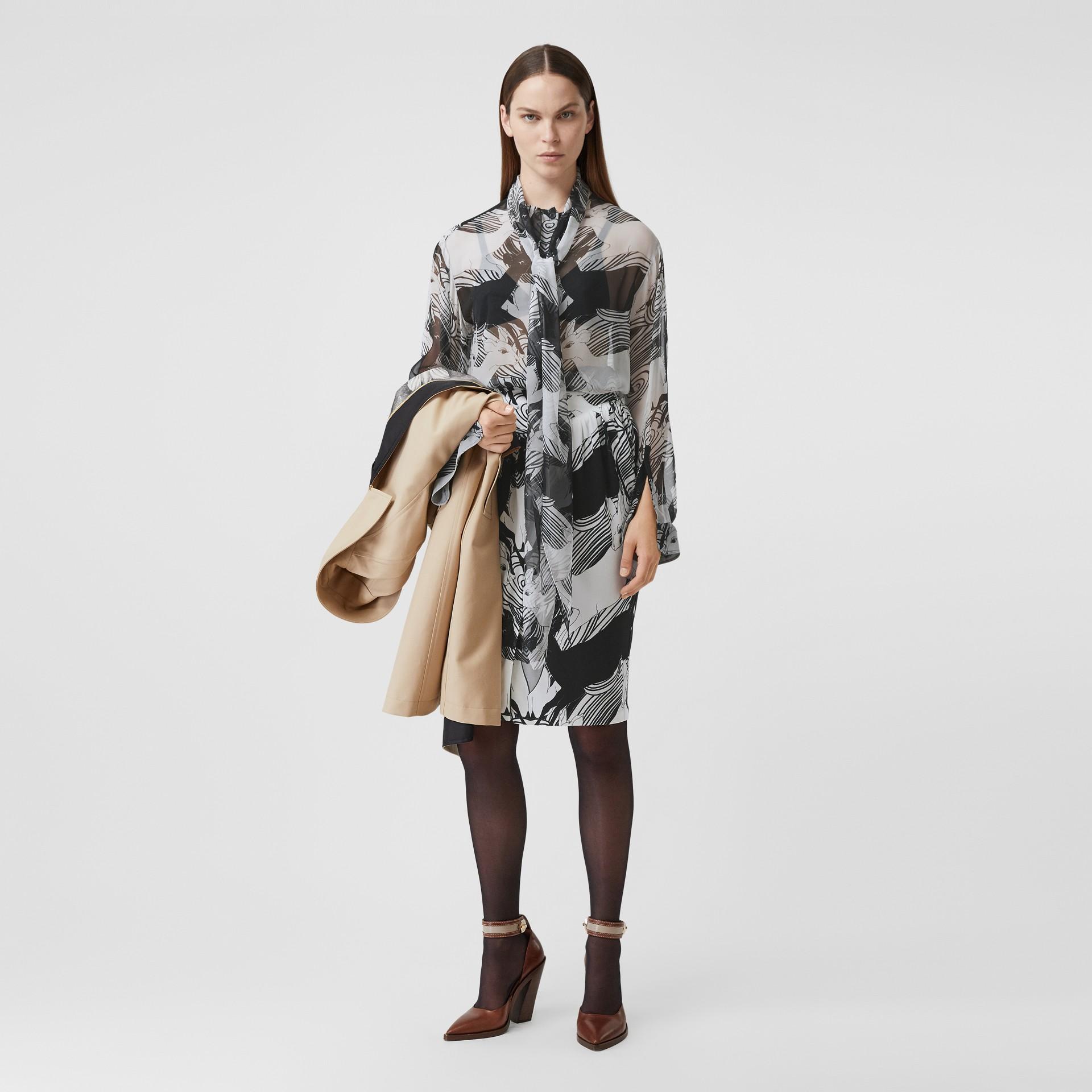 Bluse aus Seidenchiffon mit Rehmotiven und Schleifendetail (Schwarz-weiß) - Damen | Burberry - Galerie-Bild 0