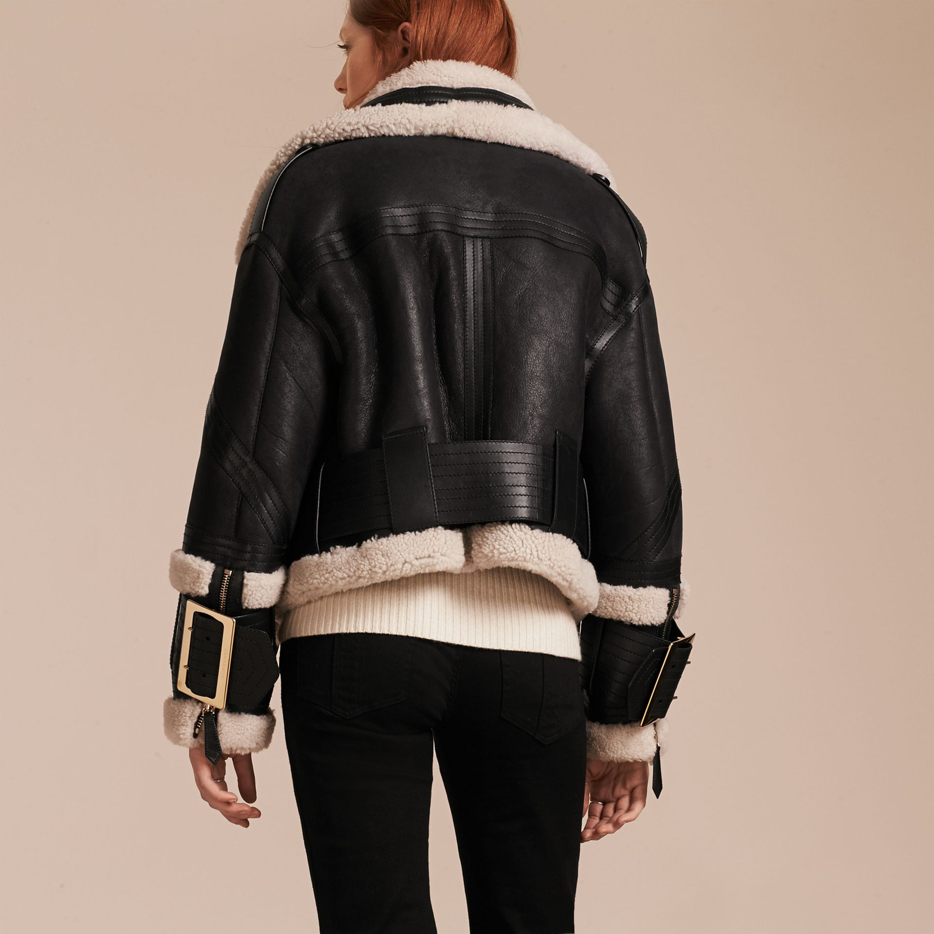 Black/ecru Shearling Aviator Jacket with Oversize Buckles - gallery image 3