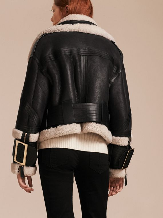 Black/ecru Shearling Aviator Jacket with Oversize Buckles - cell image 2