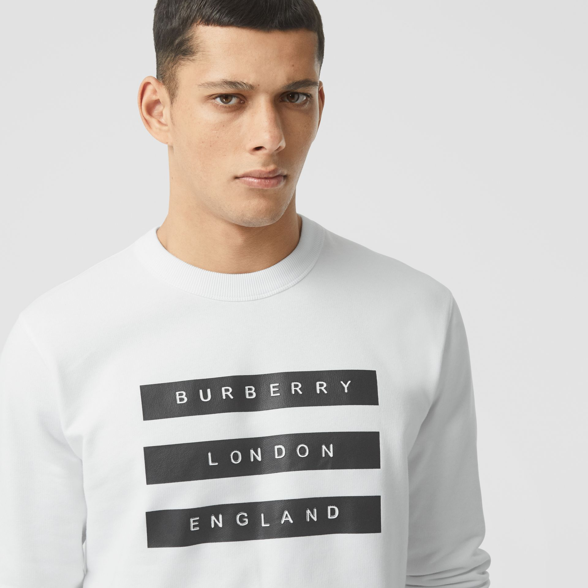 Tape Print Cotton Sweatshirt in White - Men | Burberry - gallery image 1