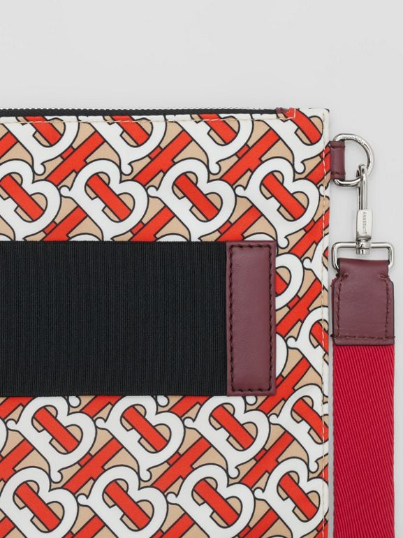 Monogram Print Zip Pouch in Vermilion | Burberry Hong Kong - cell image 1