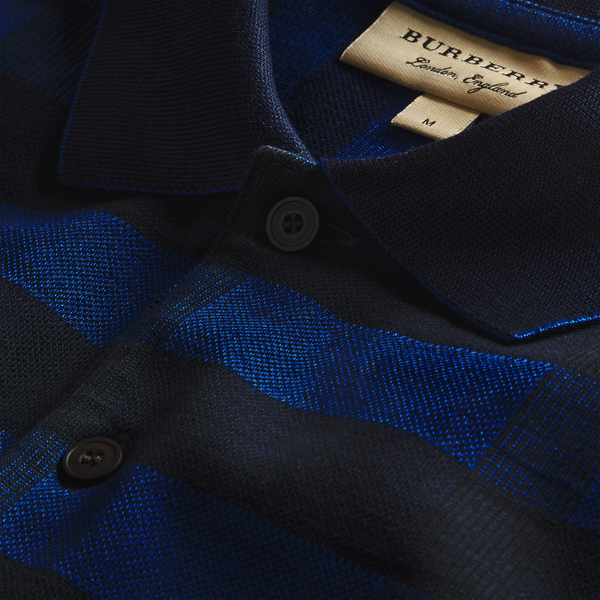 Navy Check Stretch Cotton Polo Shirt Navy - gallery image 2
