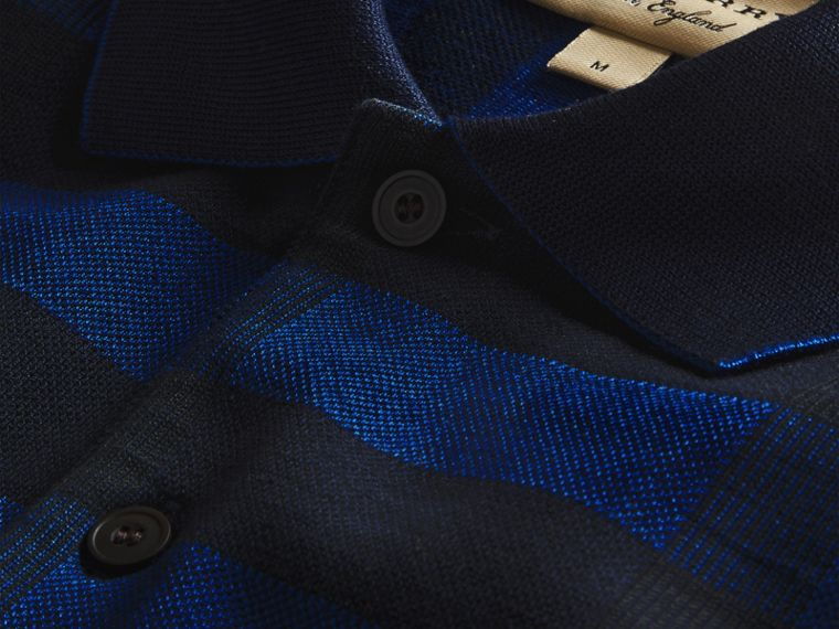 Navy Polo in cotone stretch con motivo check Navy - cell image 1