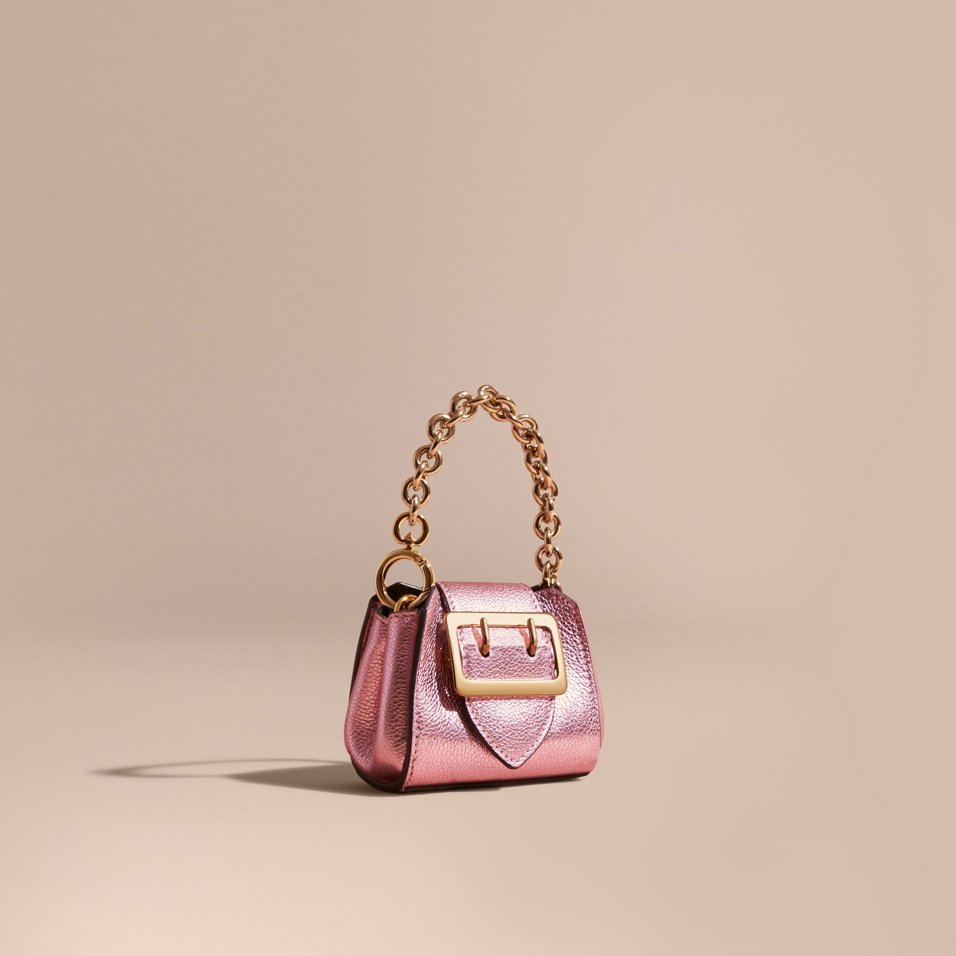 The Mini Buckle Tote Charm in Metallic Leather in Pale Orchid - gallery image 1