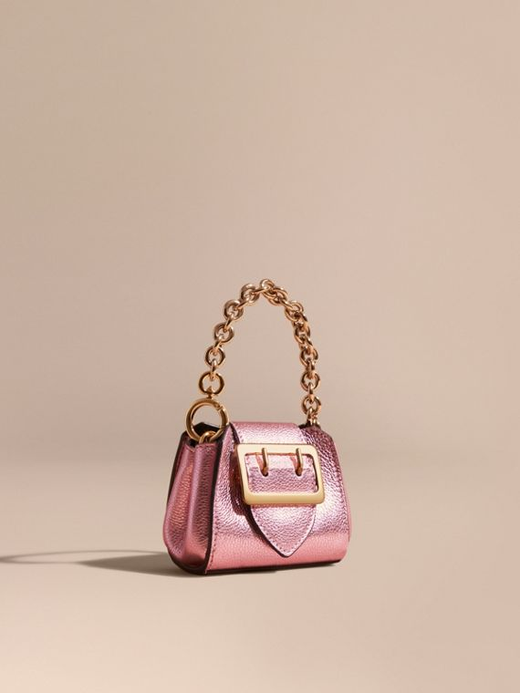 Ciondolo borsa tote The Buckle mini in pelle metallizzata Orchidea Chiaro