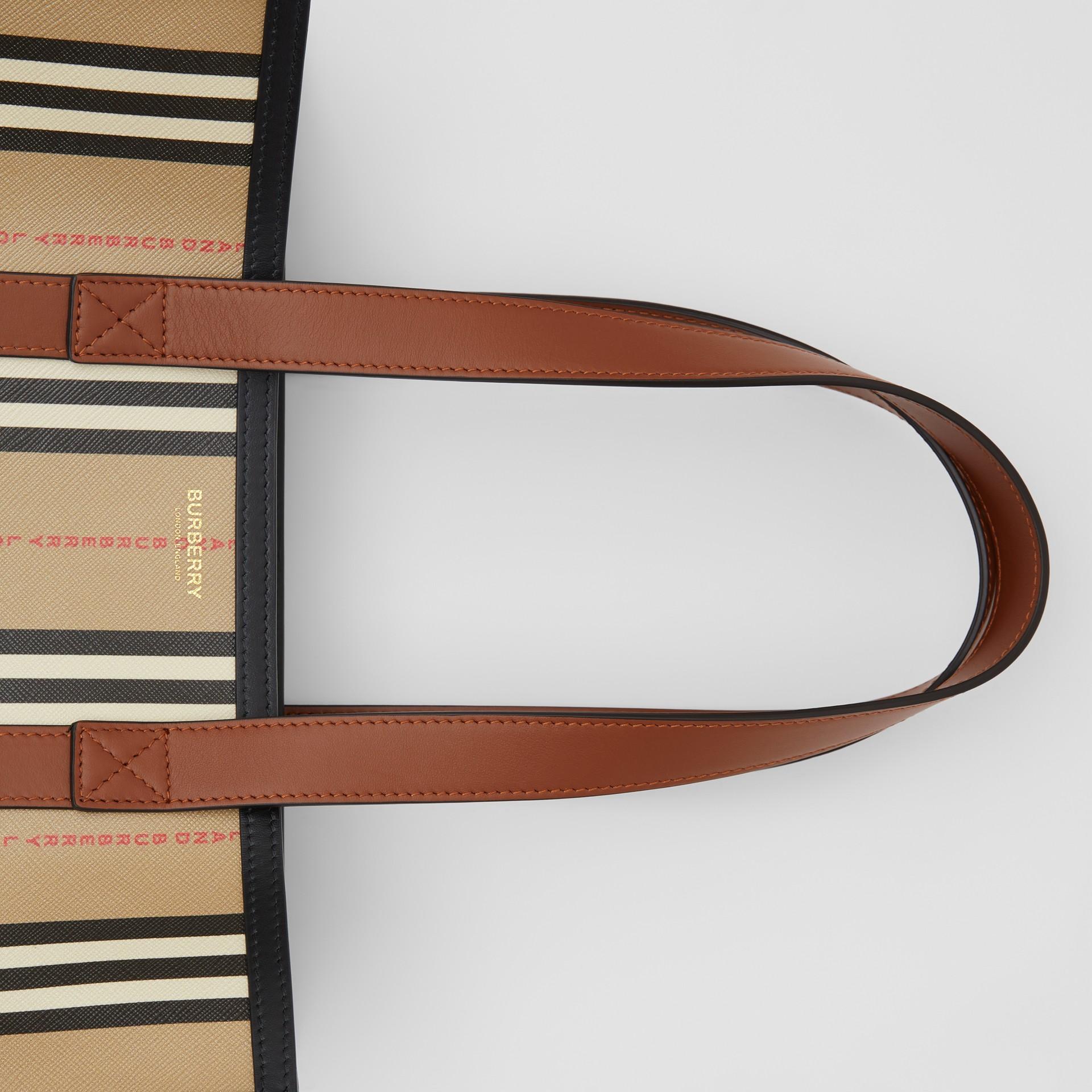 Logo and Stripe E-canvas Portrait Tote Bag in Tan/archive Beige - Women | Burberry - gallery image 1