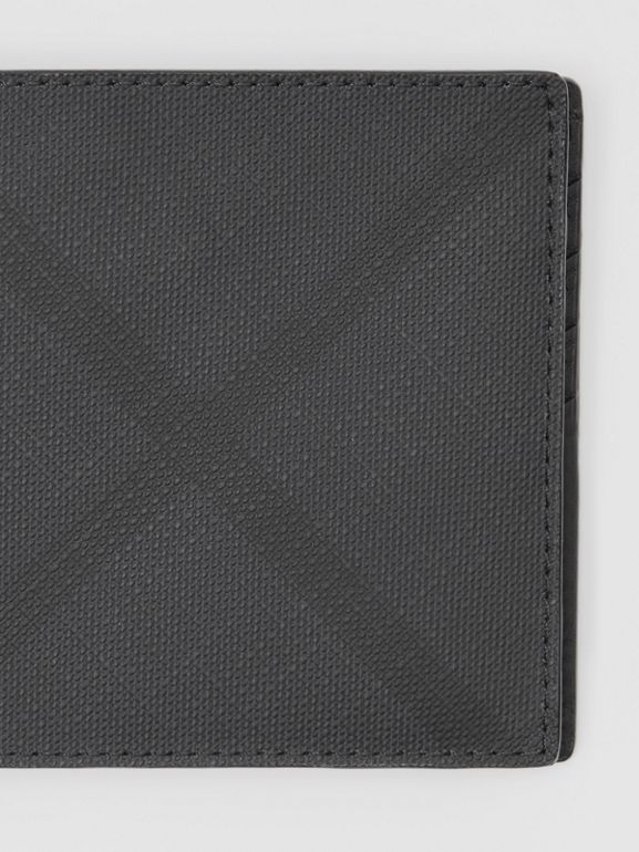 London Check Bifold Wallet with ID Card Case in Dark Charcoal - Men | Burberry United States - cell image 1