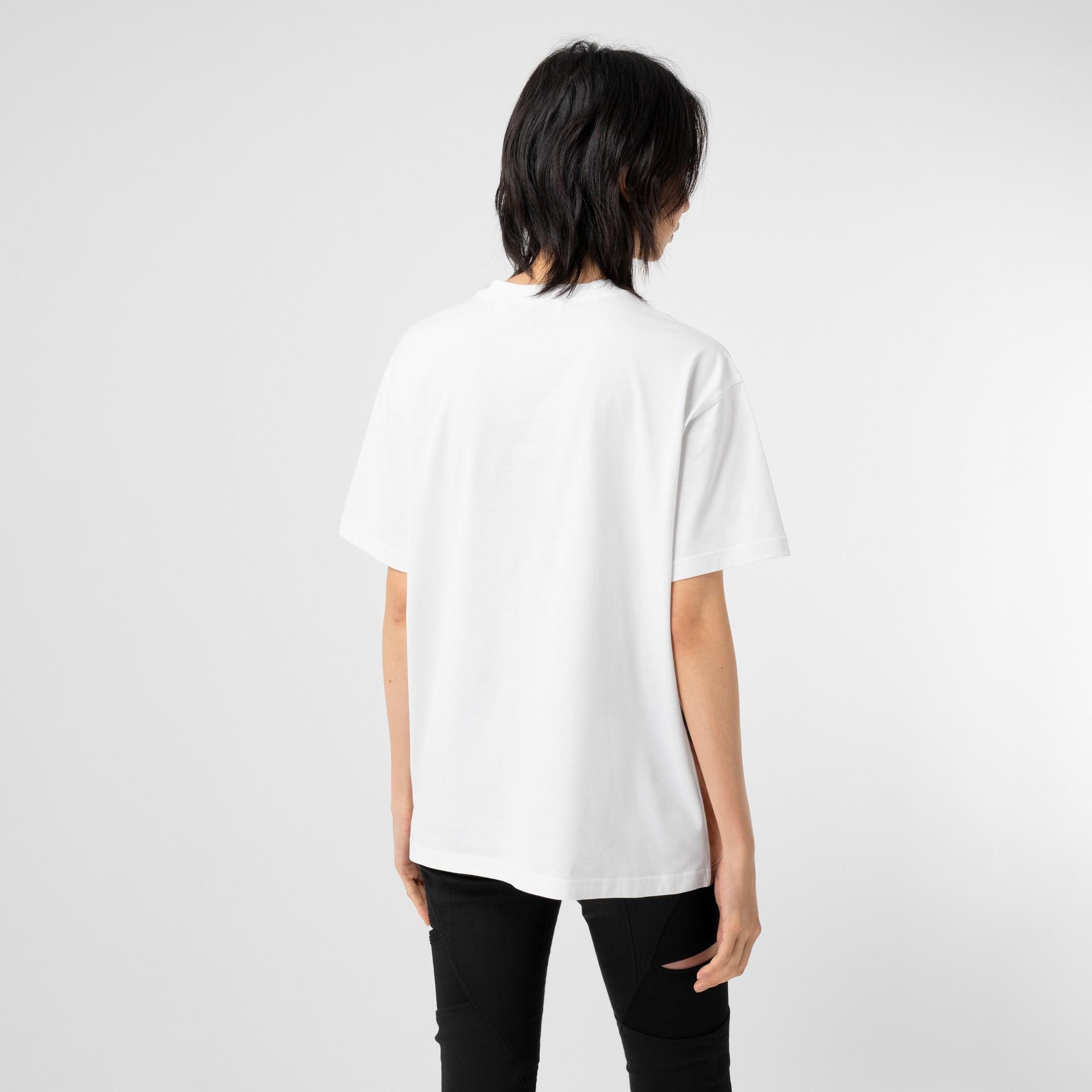 Unicorn Print Cotton Oversized T-shirt in White - Women   Burberry United Kingdom - gallery image 2