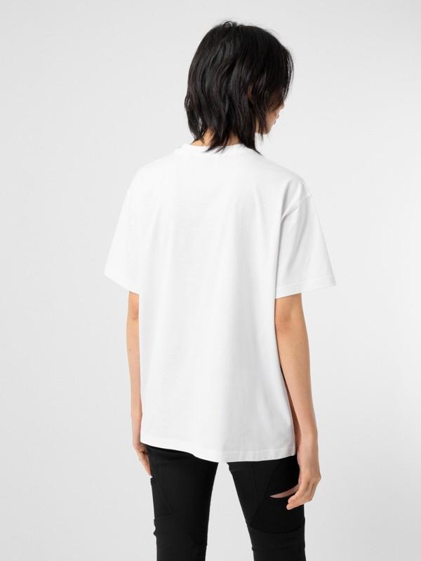 Unicorn Print Cotton Oversized T-shirt in White - Women   Burberry United Kingdom - cell image 2