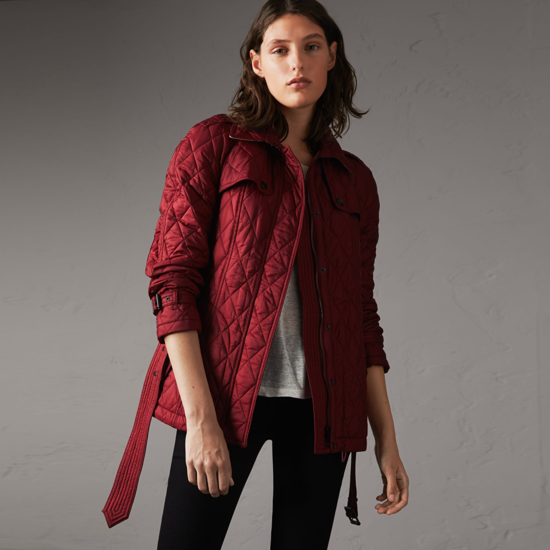 Quilted Trench Jacket with Detachable Hood in Dark Crimson - Women | Burberry - gallery image 0