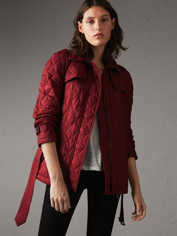 Quilted Trench Jacket with Detachable Hood in Dark Crimson