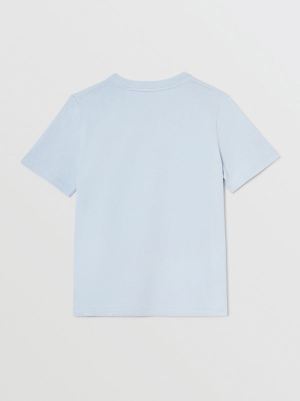 Logo Print Cotton T-shirt in Light Blue | Burberry Australia - cell image 3