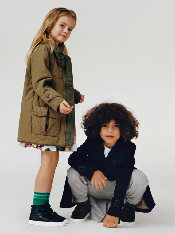 軍裝風絎縫棉質大衣 (暗綠色)