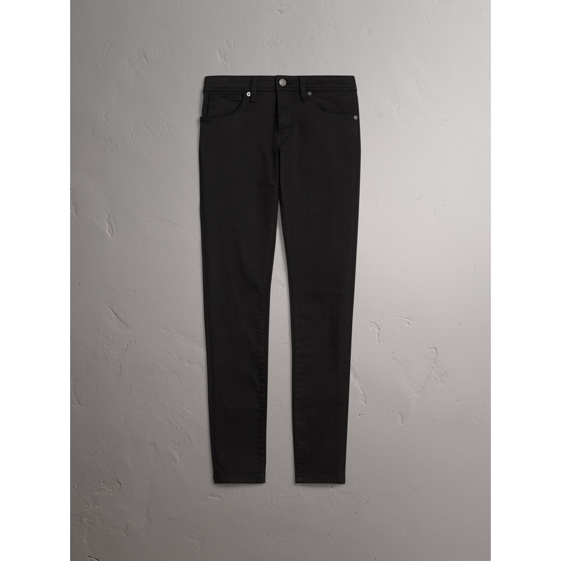 Skinny Fit Low-Rise Deep Black Jeans - Women | Burberry United Kingdom - gallery image 3
