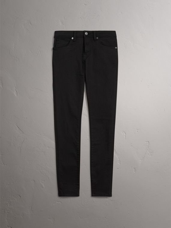 Skinny Fit Low-Rise Deep Black Jeans - Women | Burberry - cell image 3