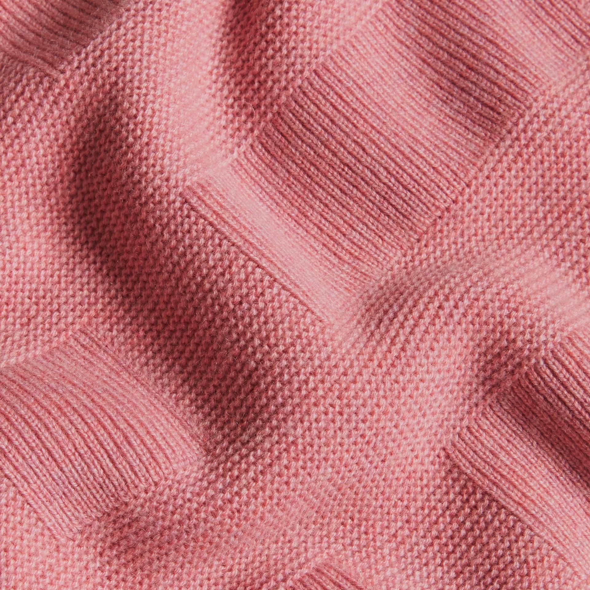 Hydrangea pink melange Check-knit Wool Cashmere Sweater Hydrangea Pink Melange - gallery image 2