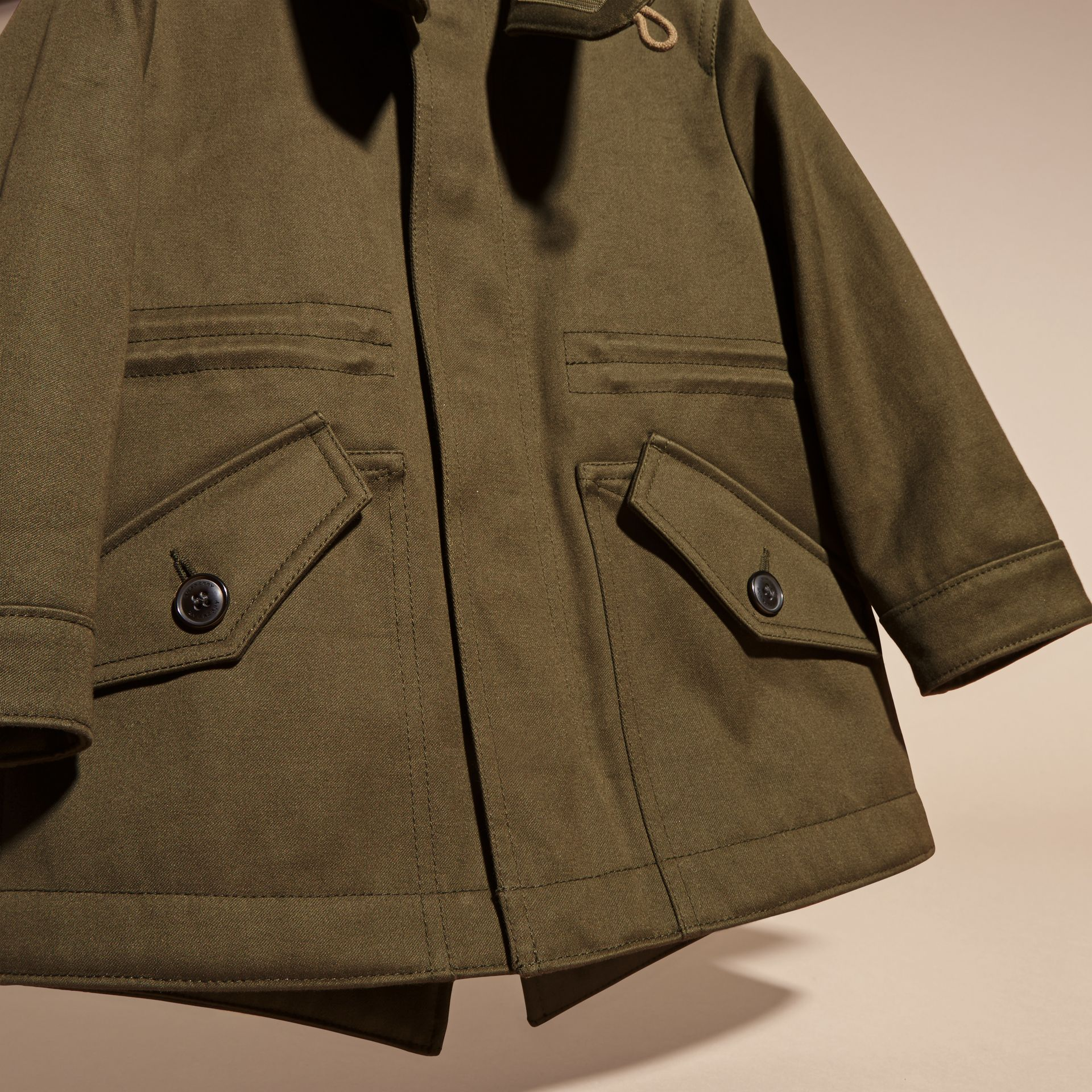 Olive green Fur-trimmed Cotton Sateen Parka - gallery image 3