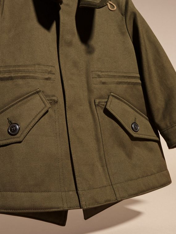Olive green Fur-trimmed Cotton Sateen Parka - cell image 2