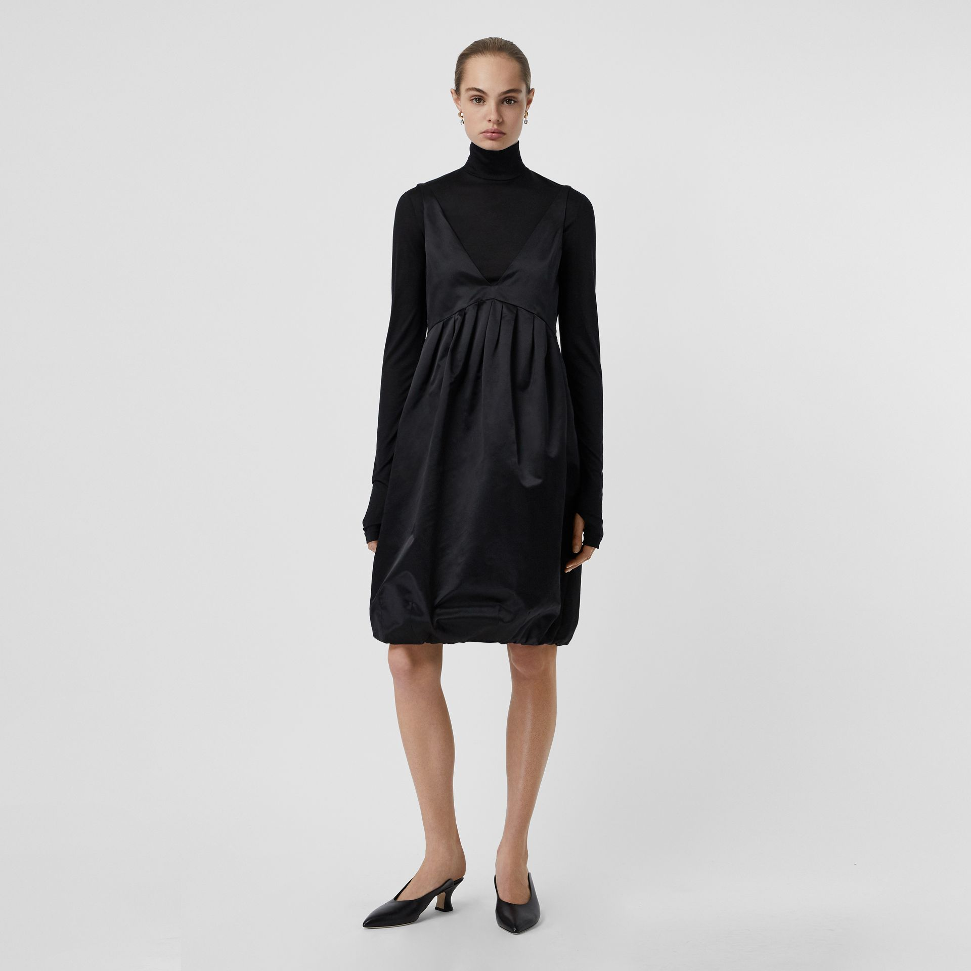Duchess Satin Bubble Hem Dress in Black - Women | Burberry - gallery image 0