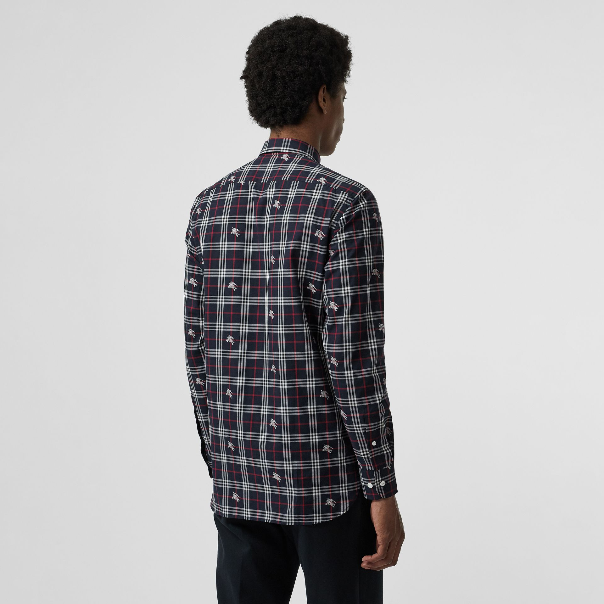 Equestrian Knight Check Cotton Shirt in Dark Navy - Men | Burberry - gallery image 2