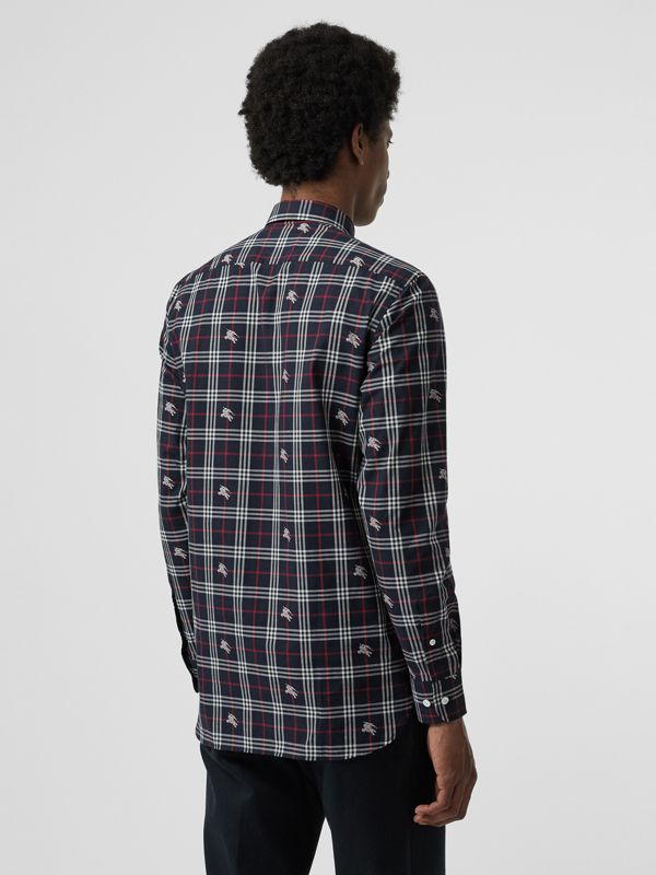Equestrian Knight Check Cotton Shirt in Dark Navy - Men | Burberry Singapore - cell image 2
