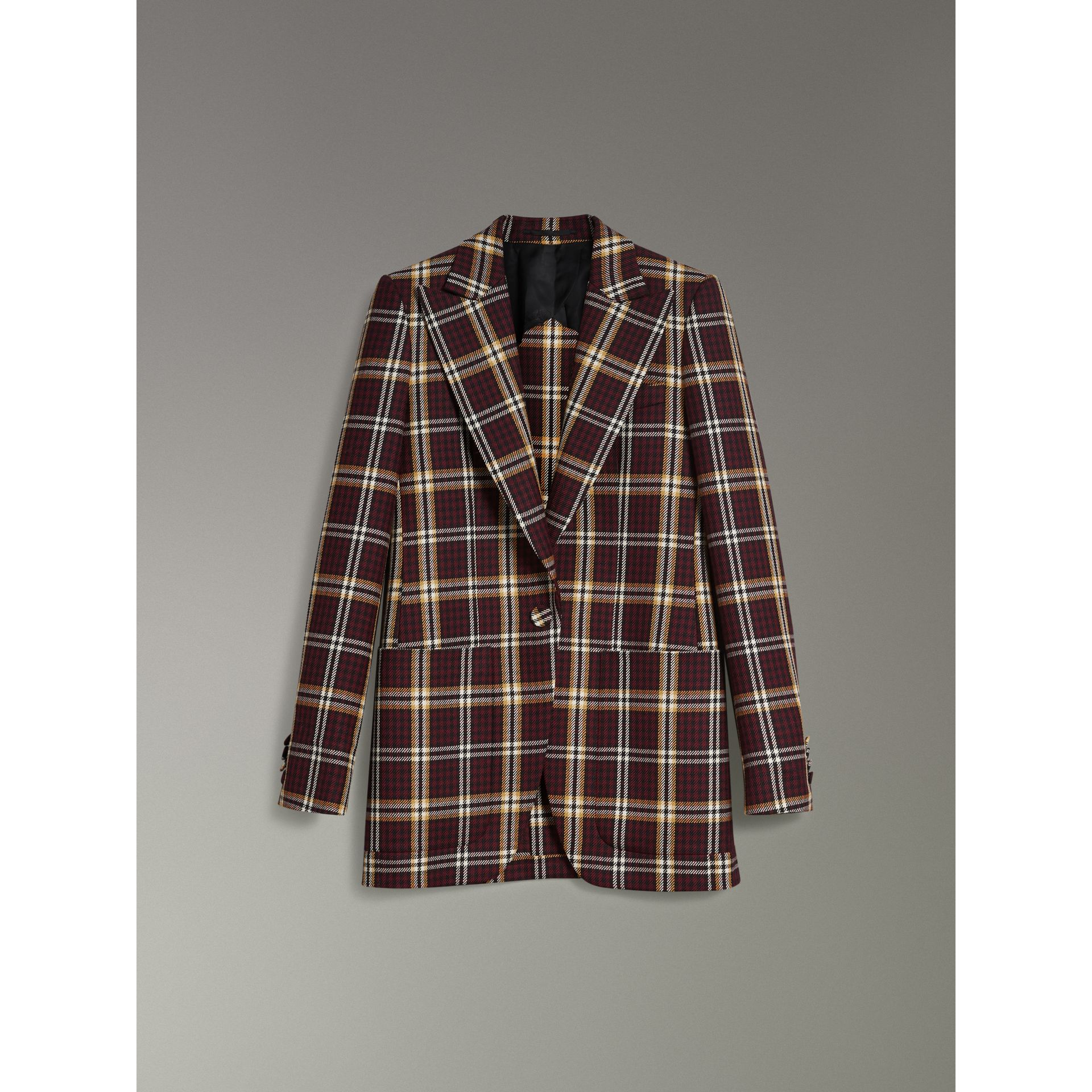 Check Wool Twill Peak Lapel Blazer in Burgundy - Women | Burberry United Kingdom - gallery image 3