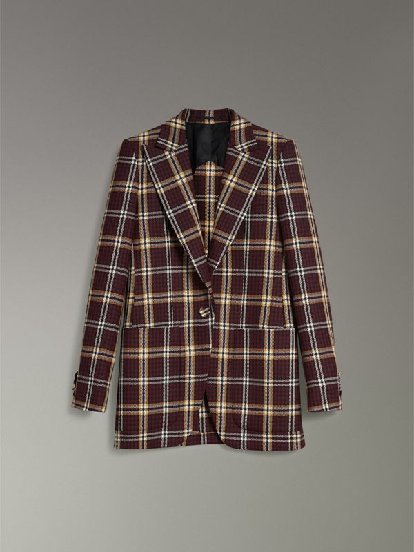 Check Wool Twill Peak Lapel Blazer in Burgundy - Women | Burberry - cell image 3