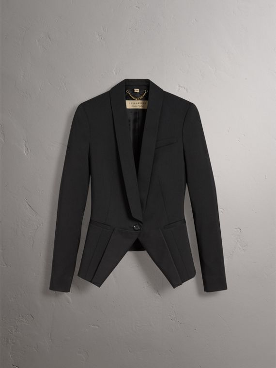 Cinched-waist Cotton Twill Tailored Jacket in Black - Women | Burberry - cell image 3