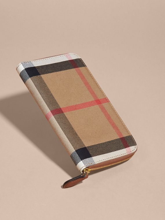 House Check and Leather Ziparound Wallet in Brown Ochre - Women | Burberry - cell image 2